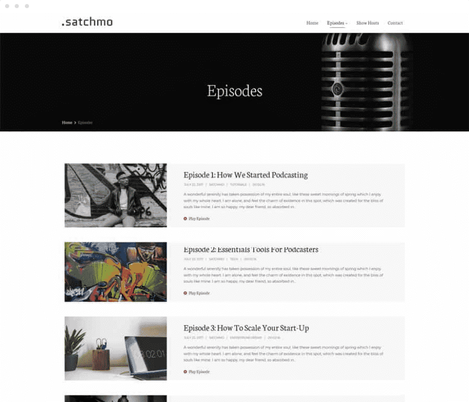 Podcast-Webseite
